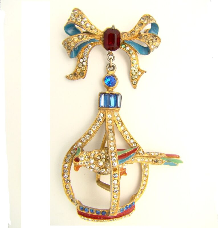 Vintage Brooch Bow w Dangling Trembler Bird in Cage Enamel Rhinestone Book Piece