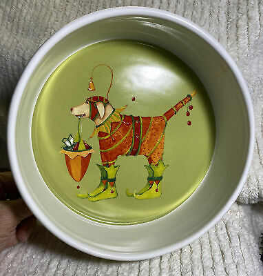 NEW NOS Dog Bowl Department 56 Christmas Krinkles Ceramic CUTE Patience Brewster