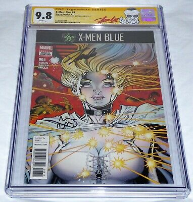 X-Men Blue #8 CGC SS Signature Autograph STAN LEE ARTHUR ADAMS Marvel Comics 9.8
