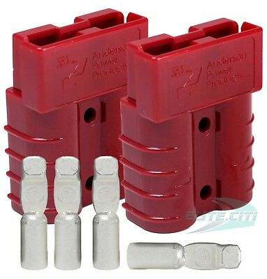 Sb50 Anderson 50 Amps Connector Kit 24v Red Housing W 8 Awg 6331g1 2-set