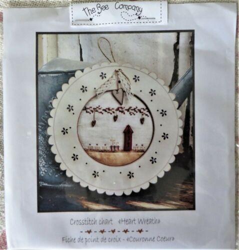 "The Bee Company Cross Stitch Pattern ""Heart Wreath"""