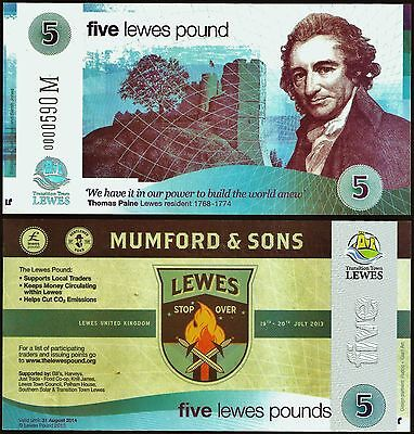"""England / Lewes - Limited edition £5 """"Mumford & Sons"""" Local UK Banknote. UNC."""