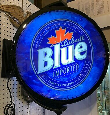 Labatt Blue Rotating Lighted Electric Beer Pub Bar Sign New In Sealed Box