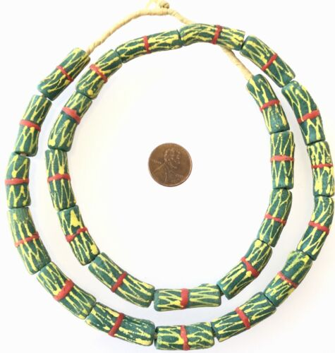 African Green Red Kente Design Recycled glass African trade beads-Ghana