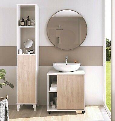 Conjunto mobiliario ba?o moderno Saina lavabo pedestal mueble columna sin espejo