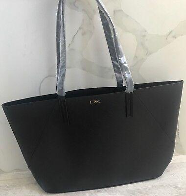DONNA KARAN COSMETICS black faux pebble leather purse tote bag shopper NEW