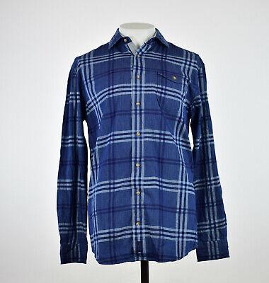 Johnnie-O Mens Breckenridge Indigo Washed Plaid Button Down Sport Shirt L