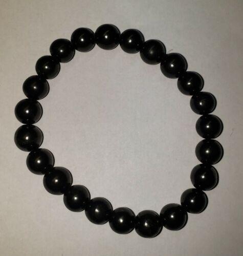 8 mm Shungite Bracelet Stretchy One Size 5G WiFi Radiation EMF Protection - 1 pc