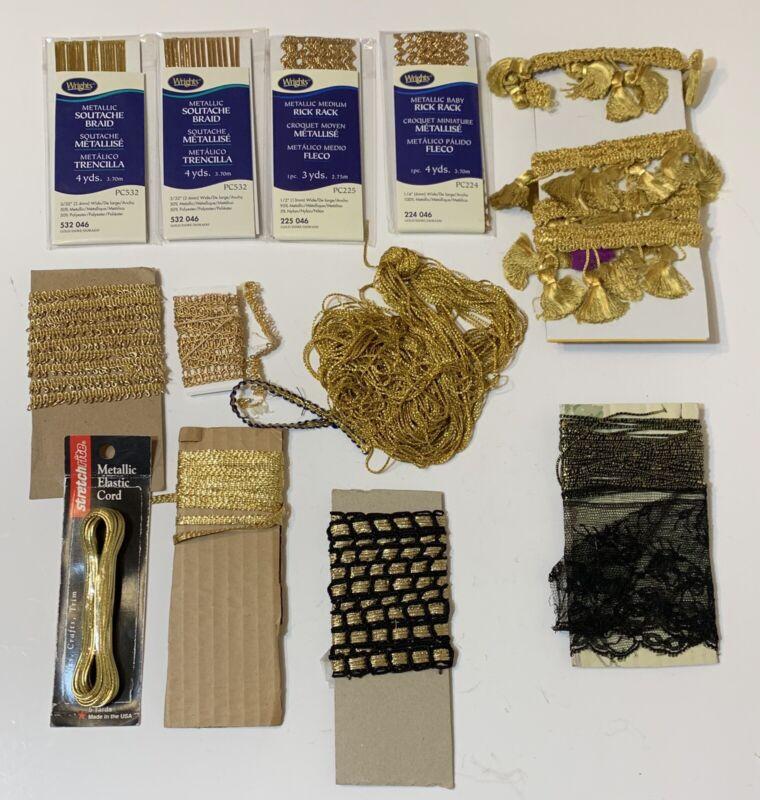 VINTAGE GOLD  Color Trim Pieces Deco for Clothing  ~ Arts & Crafts