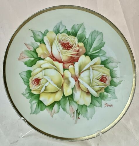 ANTIQUE CABINET PLATE ROYAL AUSTRIA SIGNED YELLOW ROSE FLOWERS GOLD RIM