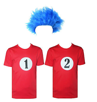 Kids Blue Wig Thing 1 Thing 2 Red T-Shirt Fancy Dress Costume World Book - Kids Blue Wig