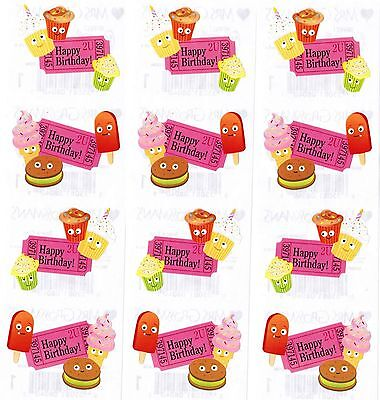 - Mrs Grossman's Happy Birthday Cupcake Popcorn Snack Scrapbook Stickers! 3 Strips
