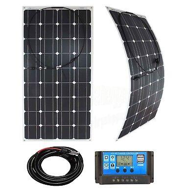 100w Flexible Solar Panel Charging Kit Marine Caravan Charger Controller WhiteK1 Marine Controller