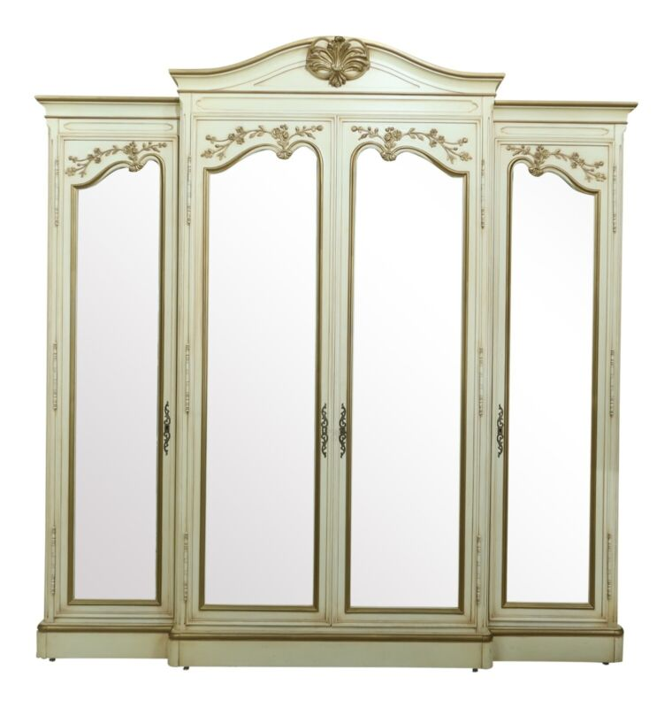 50012EC: KARGES 4 Door Paint Decorated French Curio China Cabinet
