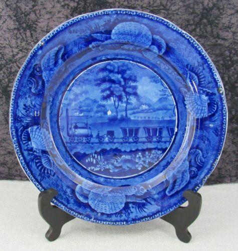 "Staffordshire Blue Transferware B&O Railroad Straight Line 10 1/8"" Dinner Plate"