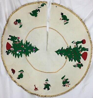 Vtg Hand Made Embroidered Felt Christmas Tree Skirt Elf Pixie Appliqué 50's 60's