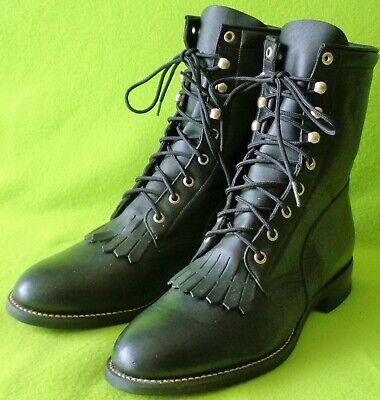 NEW Vintage ACME Men's 10D BLACK Leather Western Lace Up Roper BOOTS~Kilties