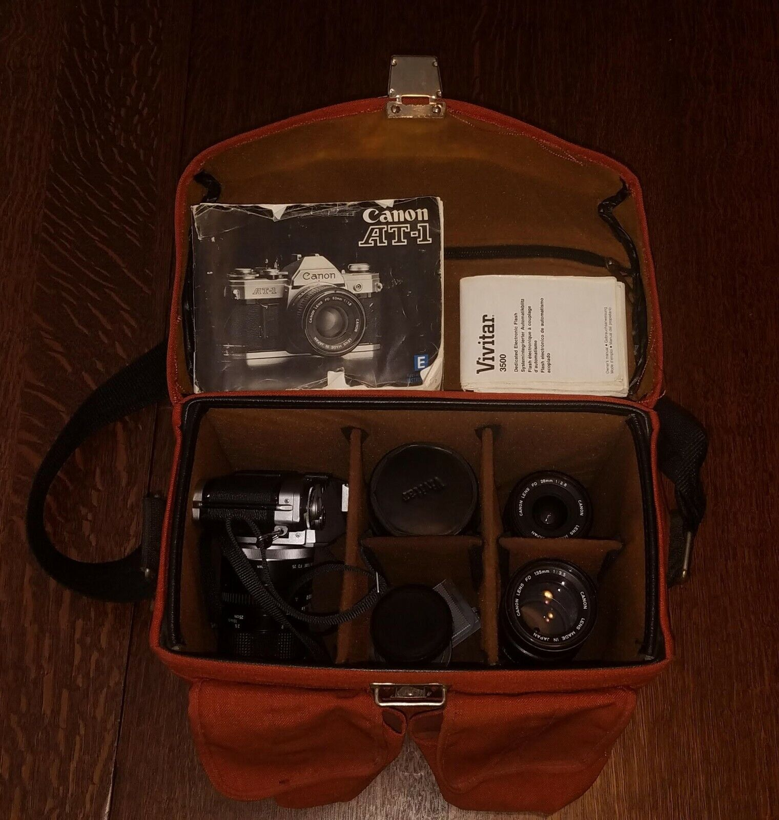 Canon AT-1 Camera With Owner s Manual, 3 Lenses, Extension Tube, And Carry Case - $175.00