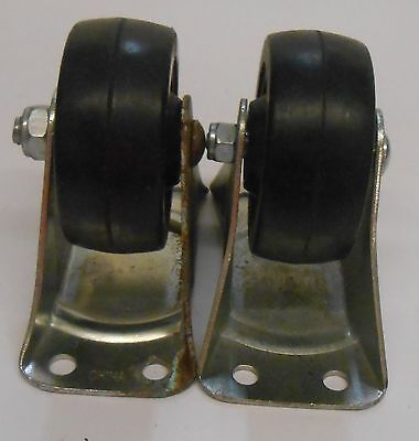 Unknown Brand Caster Wheel Lot Of 2 Hard Rubber 3 Diam 1 14 Tred Dia