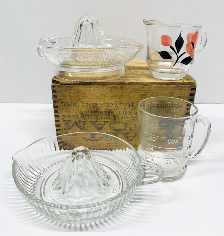 VINTAGE DEPRESSION GLASS JUICER/REAMERS, MEASURING CUP, CREAMER, YEAST FOAM BOX