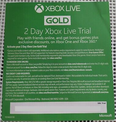 Xbox Live Gold Trial 48 Hour - 2 Day Membership (Read description)