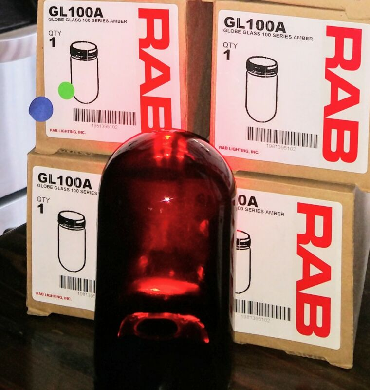 RAB Lighting GL100A 100 Series Vaporproof Threaded Glass Globe,100W Power Amber