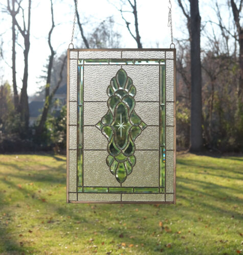 "Green transparent stained glass Clear Beveled window panel 19"" x 27"""