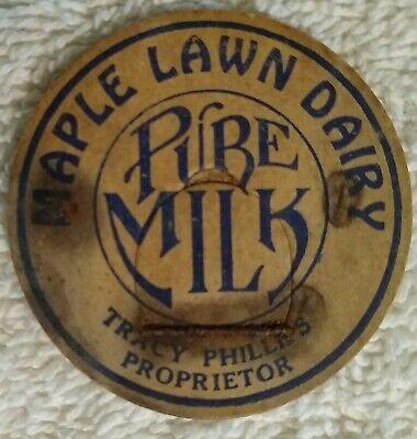 """1.5"""" Vintage Maple Lawn Dairy Pure Milk Bottle Cap Pog"""