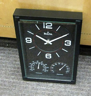 BULOVA  WALL CLOCK CONCEPT, THERMOMETER, HYGROMETER AND CLOCK C3732