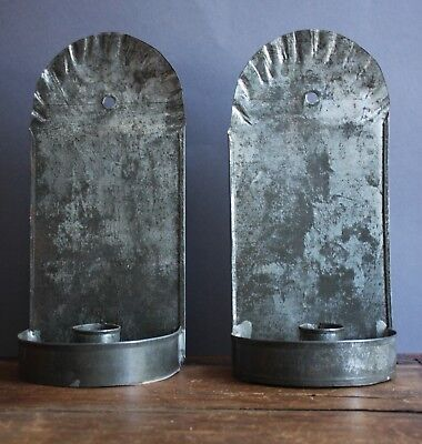RARE PAIR OF 19TH C SILVERED TIN CANDLE SCONCES WITH FABULOUS AGE AND USE PATINA