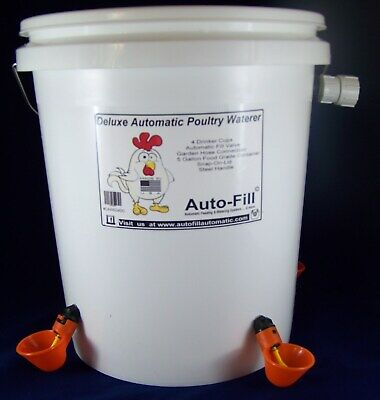 Automatic Chicken Poultry Waterer 5 Gallon 4 Drinker Cups - Food Grade Container