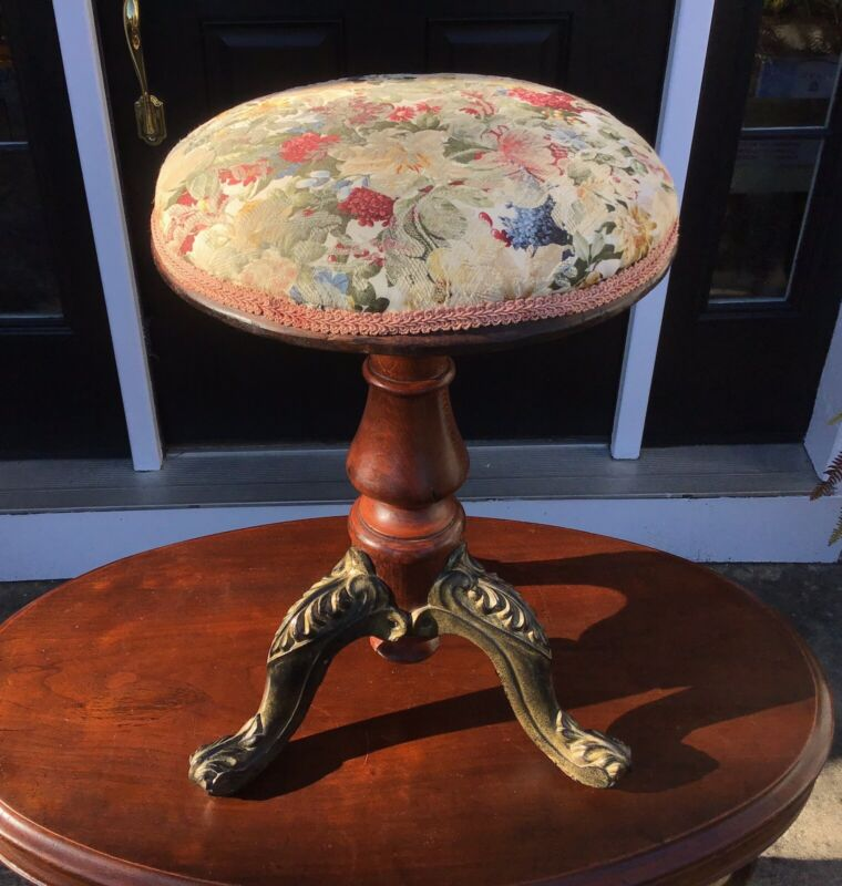 Victorian Style Adjustable Piano Stool Swivel Upholstered Seat Cast Iron Legs