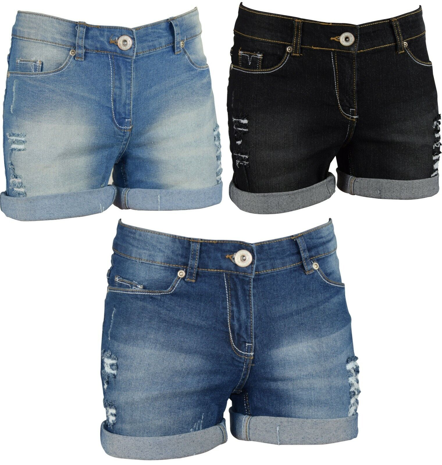 Women's Stretchy Denim Shorts Distressed Jeans Hot Pants Skinny Ripped Turn-up Clothing, Shoes & Accessories