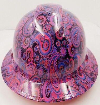 New Full Brim Hard Hat Custom Hydro Dipped Hot Pink Brad Paisleys .free Shipping