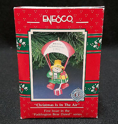 ENESCO ORNAMENT CHRISTMAS IS IN THE AIR PADDINGTON BEAR NEW FIRST 1ST 1991 MERRY
