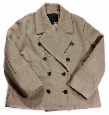 J. Crew Beige Double Breasted Melton Wool Peacoat Winter Coat Size 6 Petite 6P Double Breasted Melton Peacoat