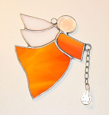 Tiffany Fensterbild orange Engel mit Bleikristall Mitbringsel Sonnenfänger Glas