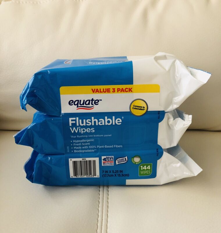 Equate Flushable Wet Wipes 3 Packs 48 Per  Pack 144 Total | Brand New