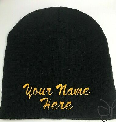 Custom Embroidery Beanie Personalized Embroidered Beanie Knit Cap Cuffless Black Personalized Knit Caps