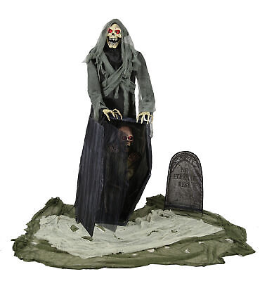 Haunted Cemetery Halloween (Graveyard Reaper Animated Prop 5' Cemetery Poseable Haunted House Halloween)
