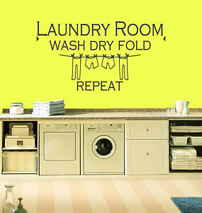 laundry room wash dry fold repeat quote vinyl wall art