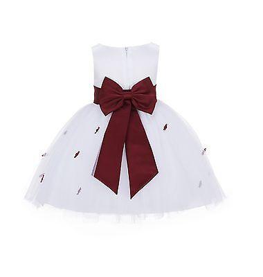 White Flower girl dress Red Black Peacock Rosebud flowers sizes Small-12 years](Flower Girl Red And White Dresses)
