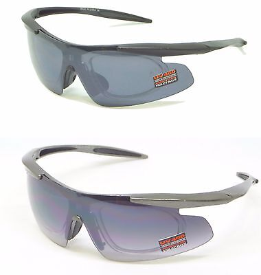 Men's Sports Sunglasses with Removable RX Prescription Adapter Anti-Fog Lens (Sunglasses With Removable Lenses)