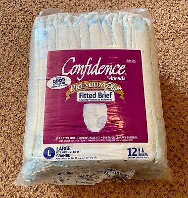 2005 Vintage Confidence By Attends Fitted Briefs Sz Large Adult Diapers 12 Pack