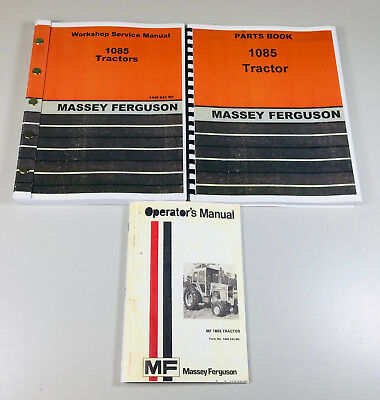 Massey Ferguson Mf 1085 Tractor Service Operators Parts Manual Shop Repair Set