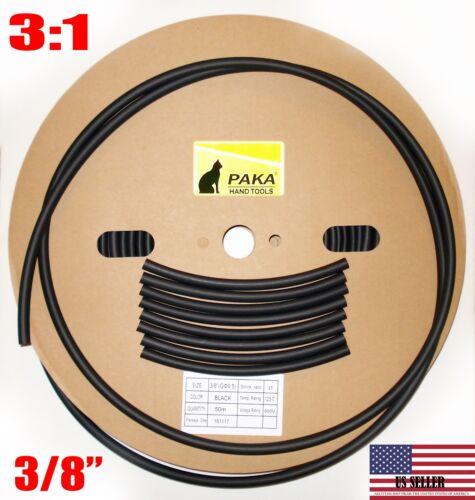 "8 FEET  - 3/8"" (9.5 mm) DUAL WALL Black Heat Shrink Tubing  3:1  Glue Lined Tube"