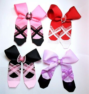 BALLERINA SLIPPERS HAIR BOW- GIRLS HAIR ACCESSORIES - HANDMADE  (Girls Ballerina Slippers)