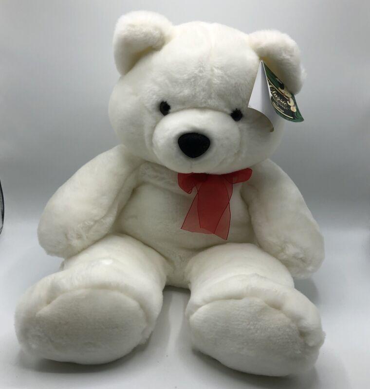 "Classic Impressions Kellytoy 20"" White Teddy Bear Plush Red Bow"
