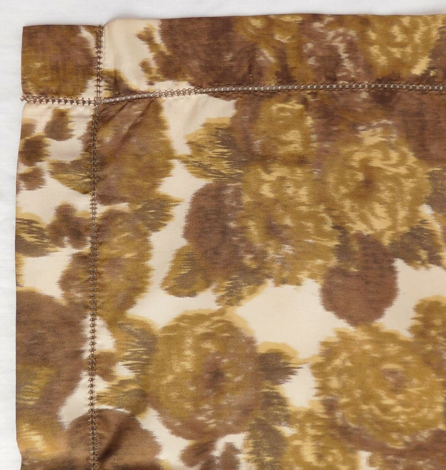 """Unusual floral scarf with drawn thread edging 32"""" square green brown vintage mv"""