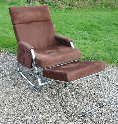 Stylish Vintage Chrome Recliner Chair ~ with Built in Foot Rest ~ for Refurb